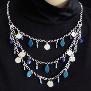 "SILVER-TONE BLUE & TEAL 3 ROW BEADED 18"" NECKLACE"